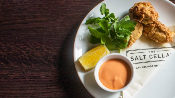 Fried Oysters with Ramp Sriracha (