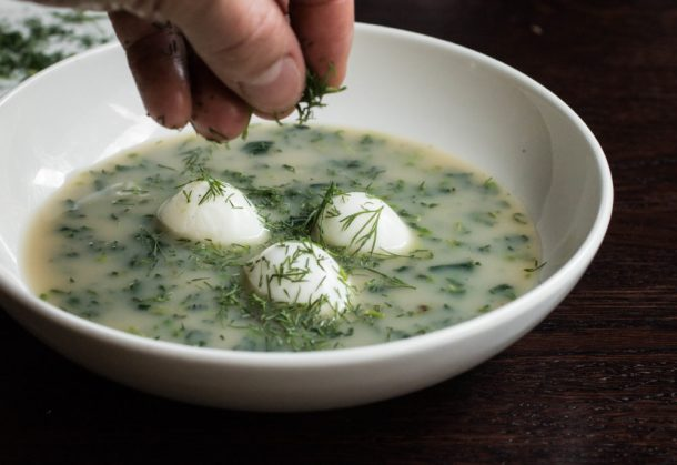 Spring stinging nettle soup with quail eggs