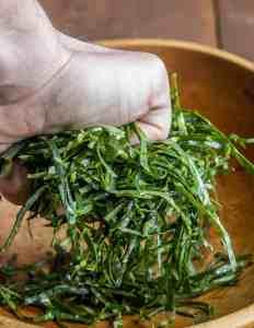 Chiffonade of broccoli leaves recipe