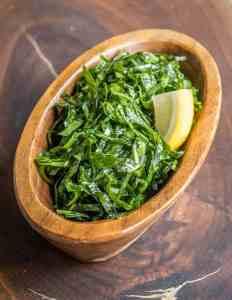 Massaged broccoli leaf salad