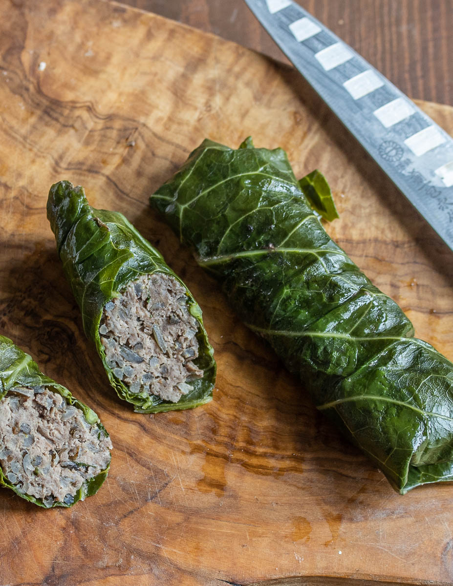 Stuffed broccoli leaves