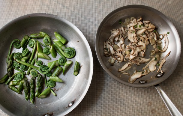 Asparagus and fiddleheads with shaved dryad saddle mushrooms