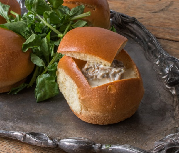 Brioche buns stuffed with morel mushroom soup