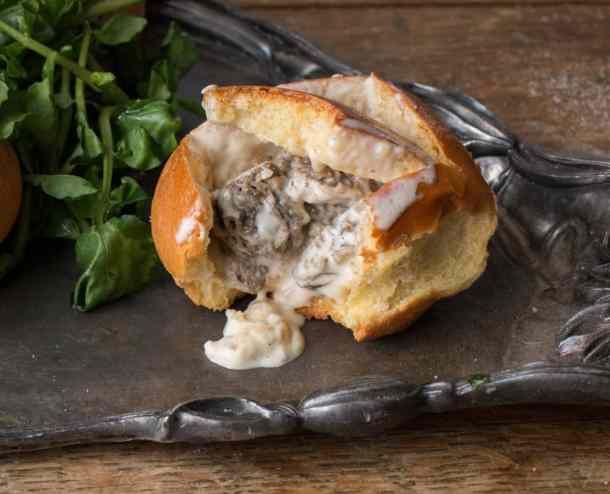 Brioche buns stuffed with morel mushroom soup