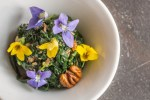 Japanese violet greens salad with hickory nuts