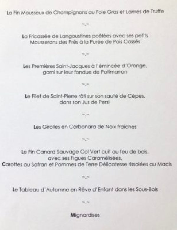 menu from jacques chibois