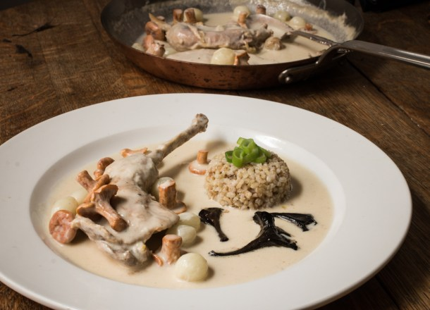 Pheasant blanquette with chanterelles, black trumpet mushrooms and heirloom Wisconsin rice