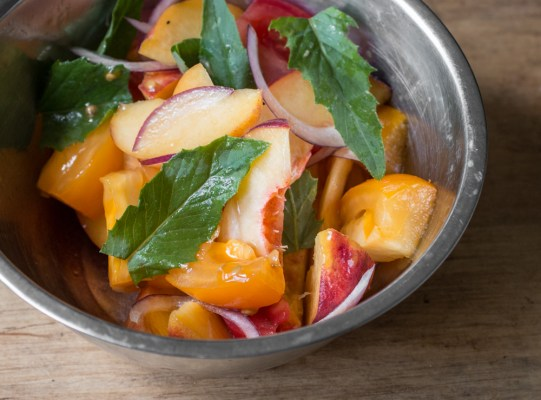 Tomato and peach salad with Erechtites hieraciifolius burnweed fireweed