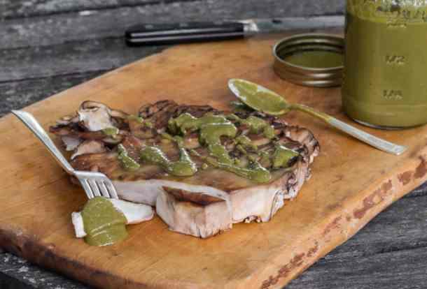 Grilled maitake mushroom steaks