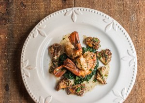 Seared prawns with coral or ramaria mushrooms, heirloom garlic butter sauce and lacinato kale