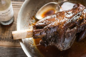Smoked venison shank glazed with birch syrup recipe