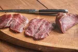 Pounding venison leg roast for jaegershnitzel