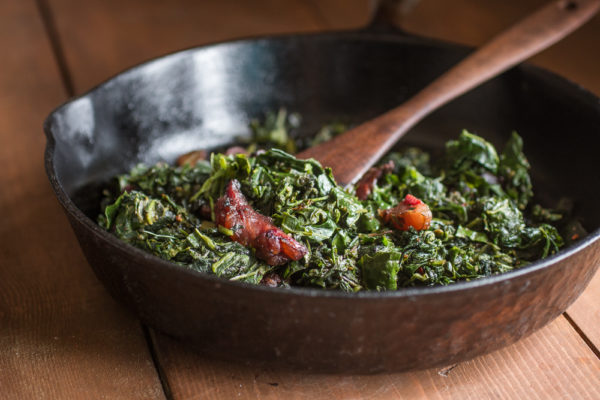 Foraged lamb's quarter, sochan, and galinsoga with venison bacon recipe