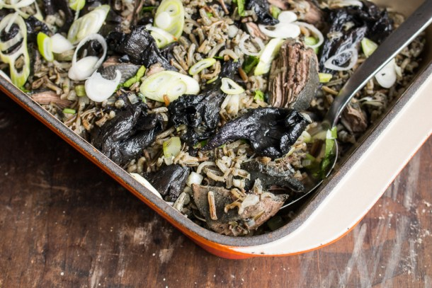 Parched wild rice with sharptail grouse, dried ramps, and blue chanterelles