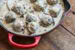 Venison meatballs in Ischnoderma mushroom gravy