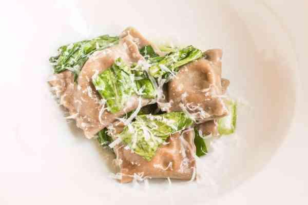 Dried mushroom ravioli