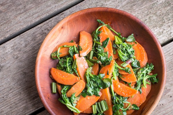 Glazed carrots with watercress and ramp leaves recipe(5)