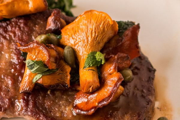 Venison scallopini with pickled wild mushrooms and mint