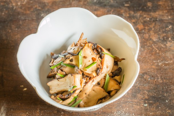 Dryad saddle mushrooms with ginger, soy, and onion greens recipe