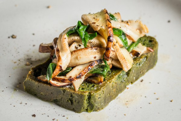 Nettle Bread with Sauteed Dryad Saddle Mushrooms
