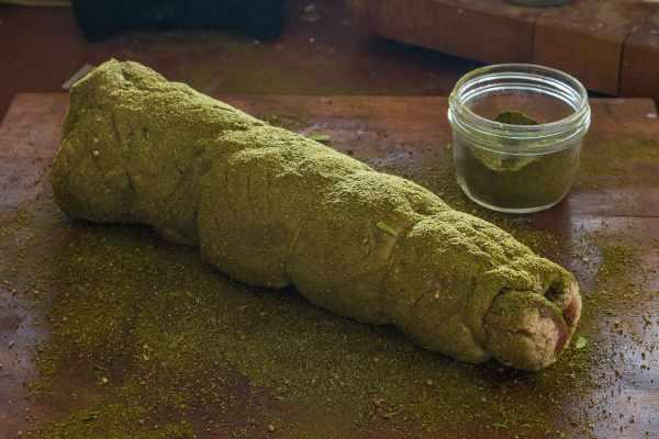 Salo with dried ramp leaf rub recipe