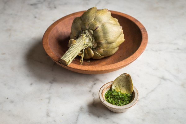 Steamed artichokes with ramp leaf butter recipe