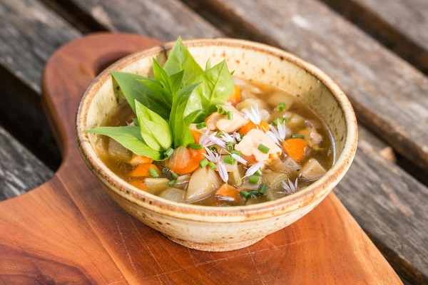 Burdock flower stalk vegetable soup with chicken of the woods mushrooms recipe