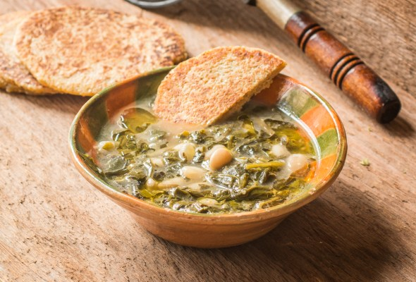 Minestrella gallicano an Italian soup of foraged greens and beans