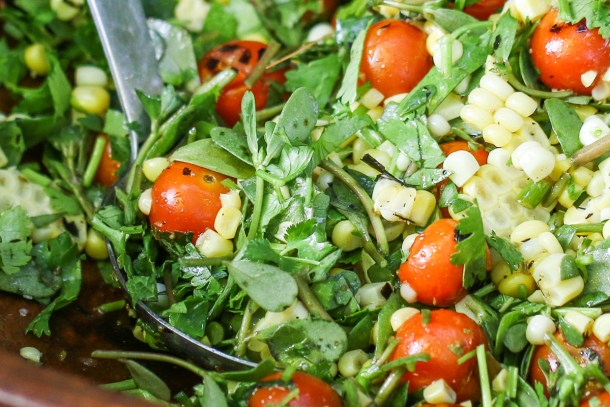 Mexican inspired purslane salad with sweet corn and tomatoes recipe