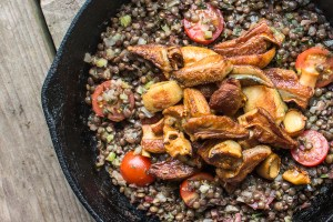 Lentils with lovage soffrito and Gyroporus cyanescens recipe