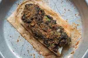 Baked cod with black trumpet mushroom crust recipe