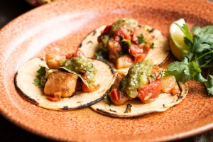 Wild mushroom tacos recipe made with shrimp of the woods mushrooms