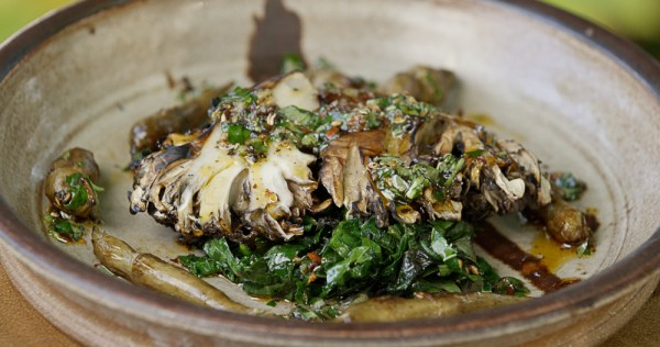 hen of the woods mushroom with prickly ash sauce, sunchokes and wild greens