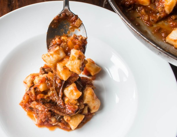 Gnocchi with tomato sauce and dried bolete mushroom ragu recipe
