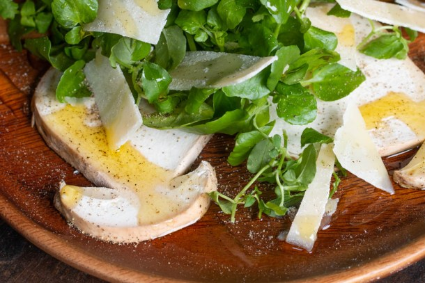 Italian style Raw porcini mushroom and watercress salad