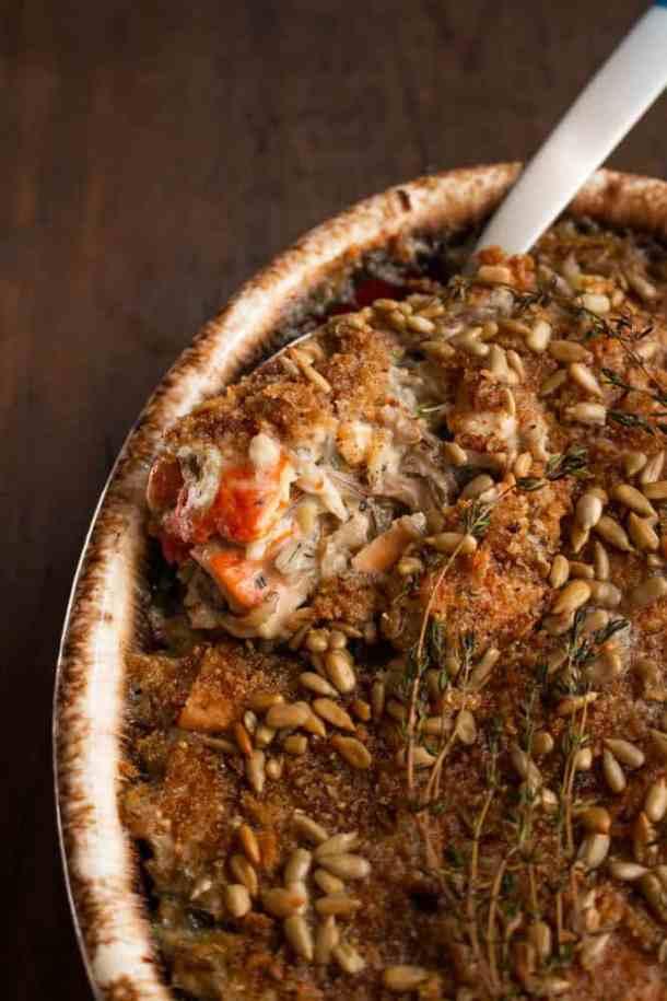 Wild rice casserole with chicken of the woods mushrooms recipe