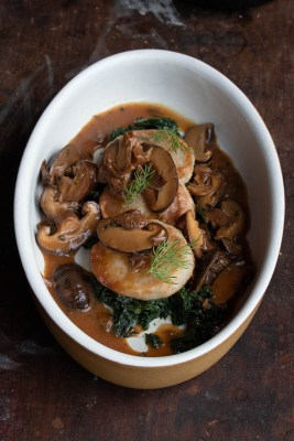 Sauteed daikon radish recipe with mushroom sauce recipe
