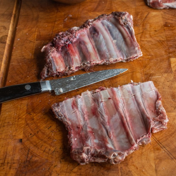 cutting venison or deer ribs into pieces
