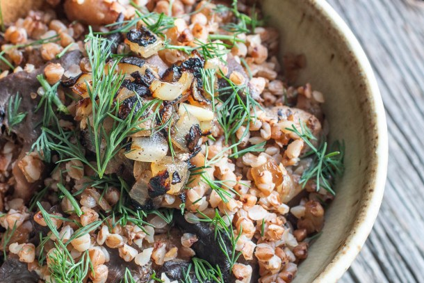 Buckwheat kasha with wild mushrooms, caramelized onions and dill recipe