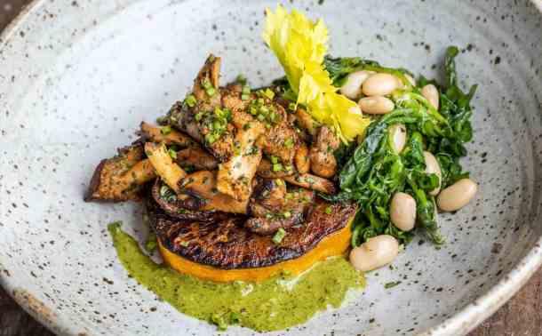 Butternut squash steaks with hedgehog mushrooms, watercress and salsa verde (5)