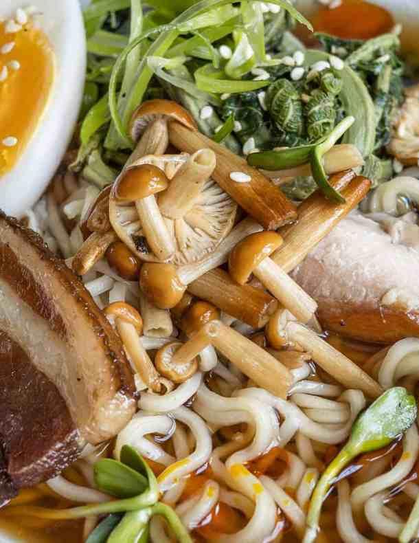 Enoki mushroom ramen with chicken, lobster stock and pork belly