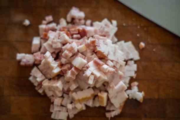 Dicing bacon 1/4 inch