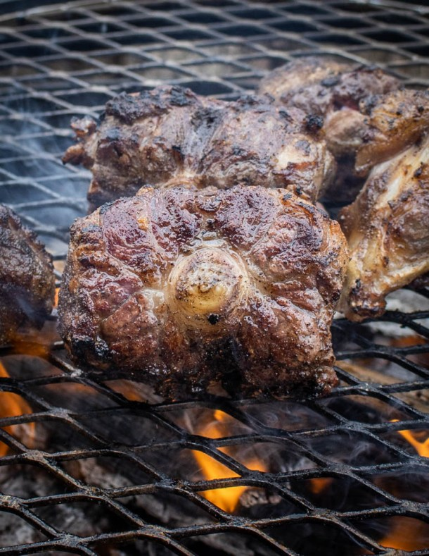 Smoking oxtails on a grill