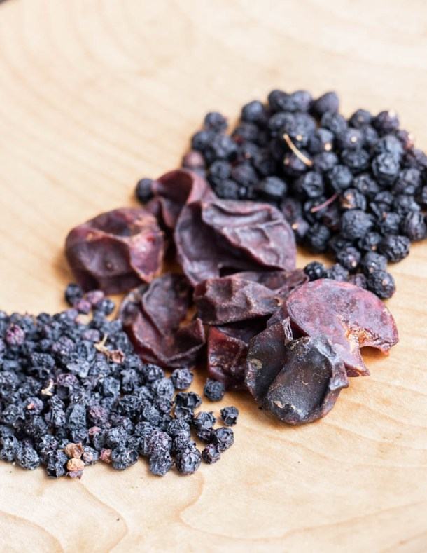 Dried wild blueberries, plums, and chokecherries
