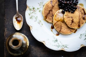 Pine pollen pancakes with mugolio pine cone syrup and wild blueberries