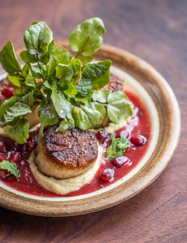 Seared scallops with highbush cranberry sauce, watercress, mint, pomegranite, and hummus