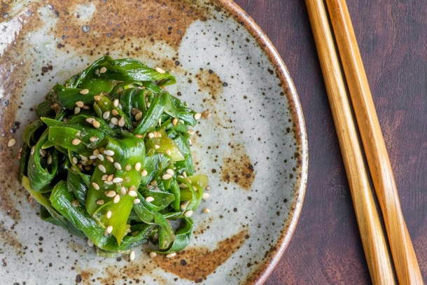 Japanese style day lily shoot salad recipe