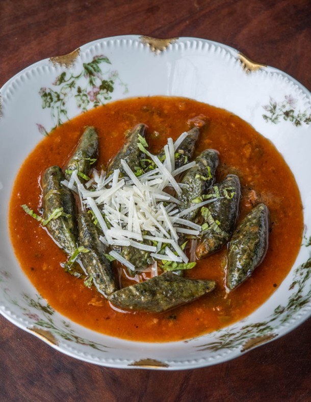 Nettle and breadcrumb gnocchi with tomato and wild mint butter recipe