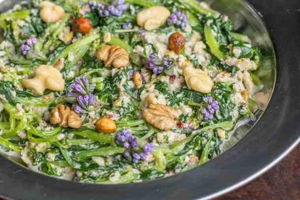 Virginia bluebells recipe with walnut sauce