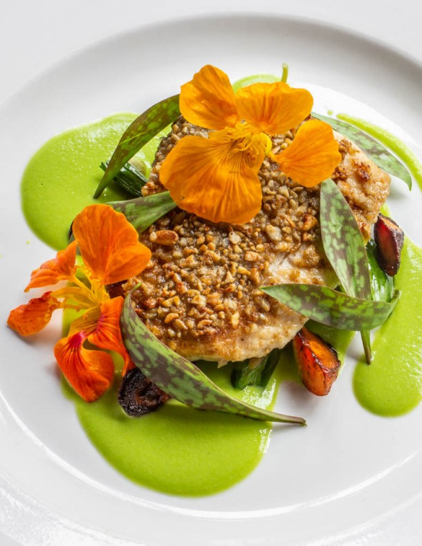 Sunflower crusted whitefish with pea puree and trout lily recipe